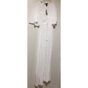 White Maxi dress w/ front buttons flounce sleeves
